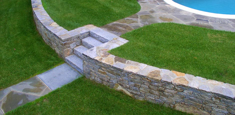 Antique granite wall and stairs