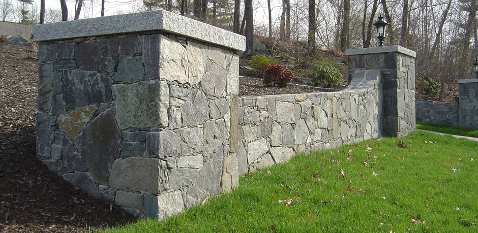 Corinthian granite stone wall and pillers